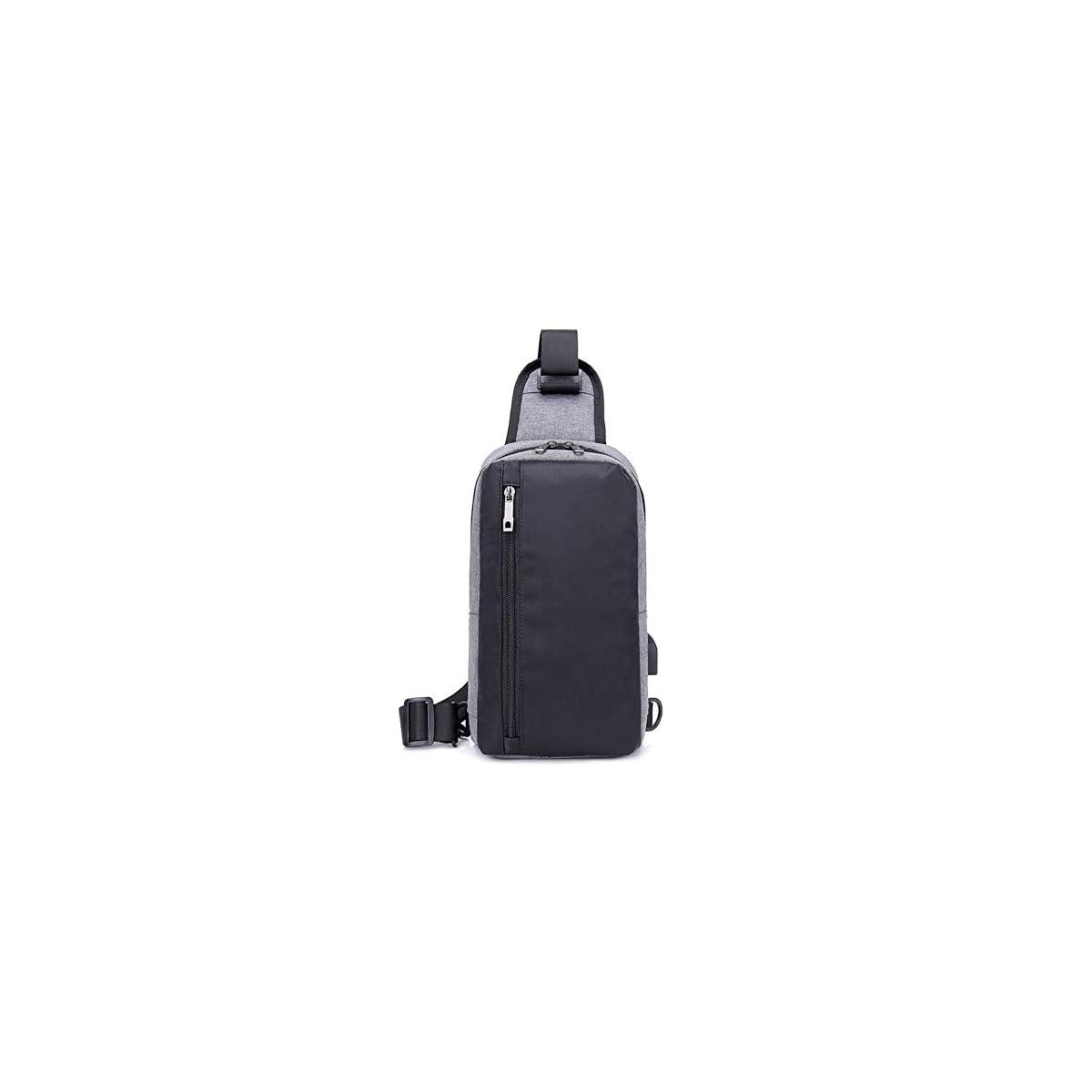 41Spuby dVL. SS1200  - BEIBAO Ropa de Vela USB recargar Bolsa de Pechos Hombre Llevar Mochila de Negocios recreación Defensa contra el Agua Viaje Solo Hombro Mochila(Gris Oscuro)