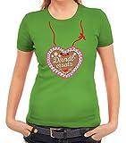 ShirtStreet Gaudi Wiesn Oktoberfest Damen Frauen T-Shirt Rundhals Lebkuchenherz Dirndl Ersatz, Größe: S,apfelgrün