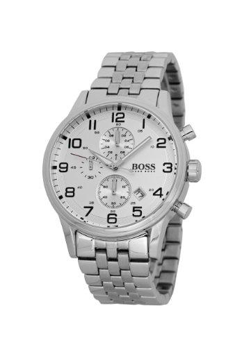 Hugo Boss 1512445 – Reloj analógico de caballero de cuarzo con correa de acero inoxidable plateada – sumergible a 50 metros