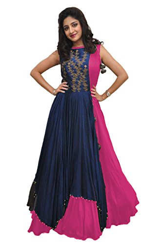 Rudra Zone Women's Banglory Gown With Jacket Gown for Party Wear Dress(PINK)