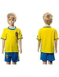 2016pour les amateurs 2017Suède Home pour enfants Kid Enfant Football Soccer Jersey en jaune