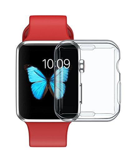 Y56 Ultra-Slim Transparent Full Cover TPU Schutzhülle Hülle für Apple Watch Serie 3 38mm / 42mm Soft Protector Case Cover Weiche Bildschirmschutz All-Aro& Schutz Schlankes Hülle (42mm)