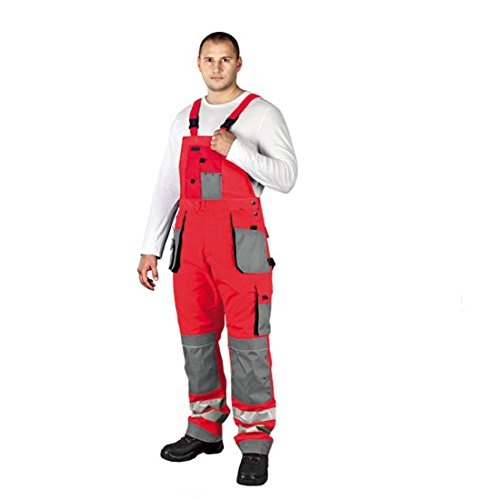 Arbeitslatzhose mit Reflektoren Warnschutzhose Warnschutzlatzhose Latzhose Warnschutz Arbeitshose Sicherheitshose 46 rot
