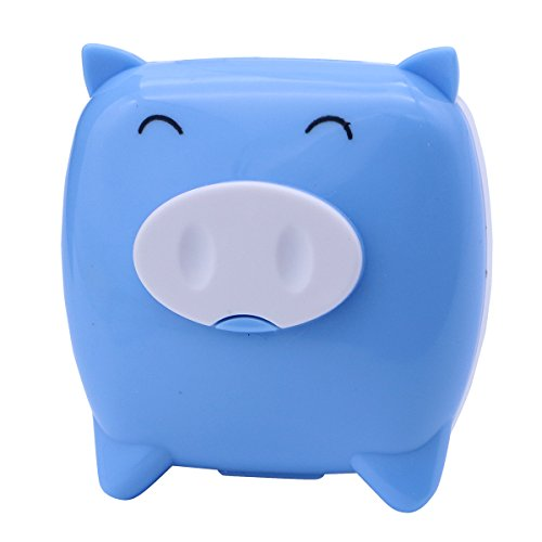 Kontaktlinsenbehälter 2pcs Cute Pig Cartoon Kontaktlinsenhalter Companion Box Kontaktlinsen Box (blau)