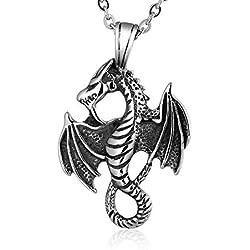 Amody Collar de Acero Inoxidable para Hombres gótico Biker ala dragón Colgante Collar para Hombres tamaño 5.4 x 3.3 CM