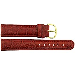 Watch Strap in Red Leather - 20mm - Alligator grain - buckle in Gold stainless steel - B20RedAli80G