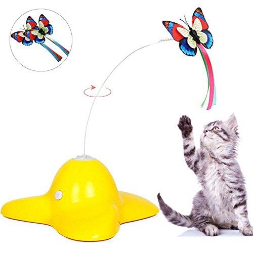 owikar Interaktives Katzenspielzeug Elektrische drehendem Schmetterling Katze Spielzeug mit zwei Ersatz Fluttering Luminous Schmetterlinge Spinning Teaser Spielzeug für Kitty Kätzchen (Up Legos Light)