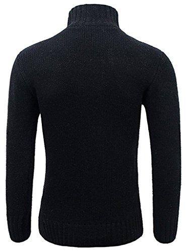 Sawadikaa Herren Taste Sweatshirt Gestrickt Strickjacke Cardigan Schwarz
