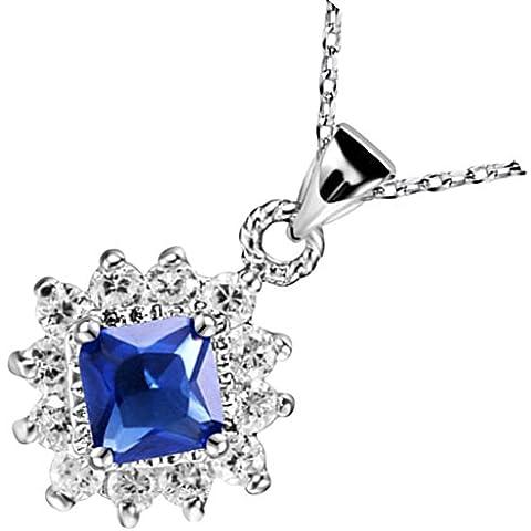 Collar Colgante Mujer de Plata Chapada en Plata Azul Square CZ Sol Necklet Forma Collar Ajustado por AieniD