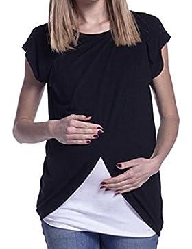 Mujer Acurrucarse-Toque Blusa de Algodón para Lactancia Materna Plus Size Nursing Clothing Maternidad Patchwork...
