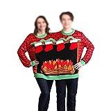 Adulto Gemelo Cuello Redondo Suéter, Navidad Doble Sudadera, Doble Siamés Tejido Jersey Ugly Christmas Sweater Unisex Pareja Siamesa Sudadera Hombre y Mujer Novedad Motivos Suéter