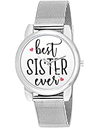 BigOwl Rakhi Gifts for Sisters, Silver Chain Analog Women's Watch
