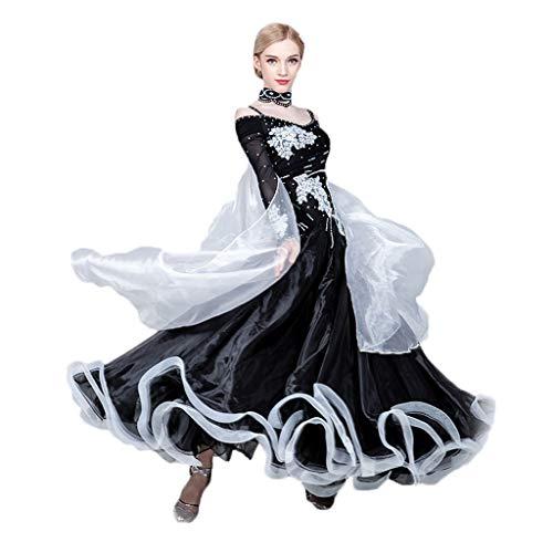 Ballroom Kostüm Waltz - Waltz Ballroom Dance Kleider Für Damen Langarm, Standard Tanz Performance Kostüm Big Swing Competition Flamenco Rock Mit Strass (Color : Black, Size : S)