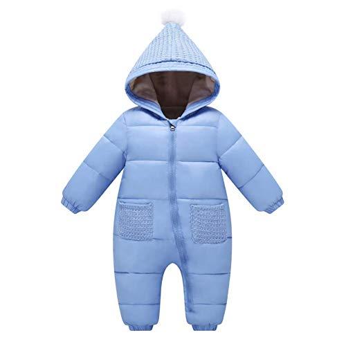 CARETOO Baby Schneeanzüge Winter Fleece Overall mit Kapuze Mädchen Jungen Strampler Jumpsuit Oberstoff Volltonfarbe Baby Strampler