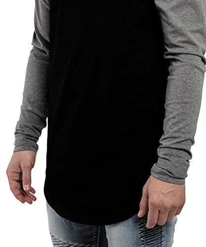 Phoenix Oversize Baseball Longsleeve Long T-Shirt Herren Longshirt Grau Blau Rot Schwarz Grün - S M L XL Schwarz-Grau