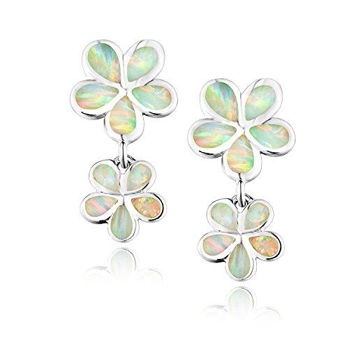 Dormith® Plata de ley 925 pendientes para las mujeres Ópalo blanco sintético dos flores pendiente de gota rodio moda joyas