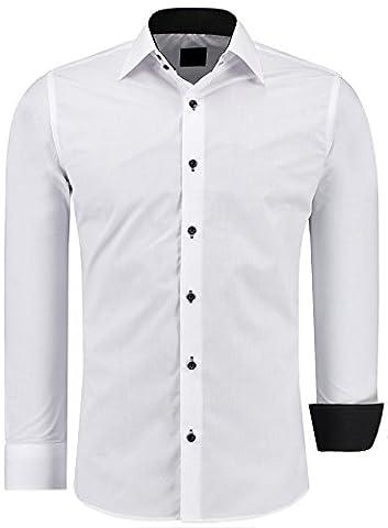 Herren-Hemd – Slim Fit – Bügelfrei / Bügelleicht – Für Business Freizeit Hochzeit – J'S FASHION - Weiß - K - L
