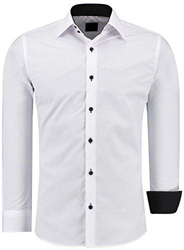 Herren-Hemd – Slim Fit – Bügelfrei / Bügelleicht – Für Business Freizeit Hochzeit – J'S FASHION - Weiß - K - M