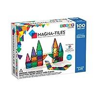 Magna-Tiles 3-D Magnetic Building Tiles, Clear Colors, 100 Pieces