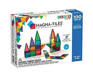 Magna-Tiles Magnetic Building Toys, Clear Colors Set, Multi Color (100 Pieces)