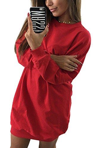 ECOWISH Damen Langarmshirt Oversize Pullover Rundhals Shirt oberteile Top Lang Sweatshirt Rot M