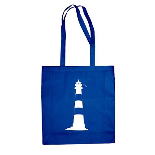 Shirtdepartment Baumwolltasche Jutebeutel Leuchtturm Meer Küste Nordsee Deutschland, blau - Küsten-leuchttürme