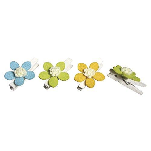 Rayher 56568000 Holz Klammern mit Filzblüten, 3,5cm ø, Klammer: 4,7cm, 3 Farben, SB-Btl 6Stück - 568 Sb