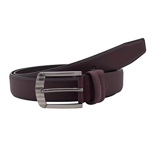 Snoby Brown Leatherette With Small Knitting Pattern Curve Edge Buckle Belt