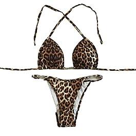 5c9d9dba7f Topgrowth Costumi Da Bagno Donna Bikini Push-Up Swimwear Reggiseno  Imbottito Bikini Set Leopardato Stampa