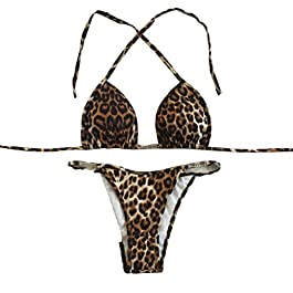 46db2cf54810 Topgrowth Costumi Da Bagno Donna Bikini Push-Up Swimwear Reggiseno  Imbottito Bikini Set Leopardato Stampa