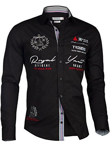 Trisens Herren Hemd Shirt BESTRICKT Stickerei Langarm Baumwolle Polo Party, Farbe:Schwarz, Größe:L