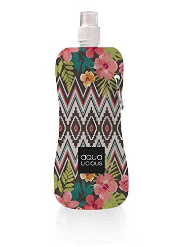 Aqua Licious Faltbare Trinkflasche mit Karabiner, wiederverwendbar, Trinkbeutel (Aztec)