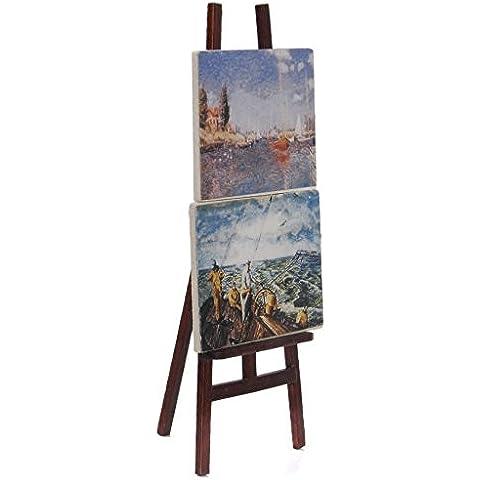 Decoracion de casa de munecas - Artistas de caballete - TOOGOO(R) 1:12 Caballete de artistas en miniatura de casa de munecas con 2 pinturas imagenes