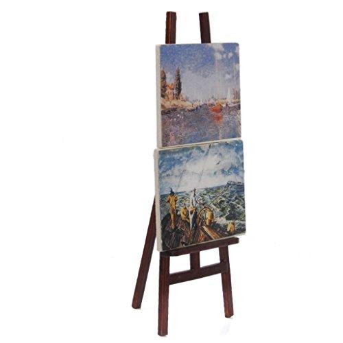 Decoracion de casa de munecas - Artistas de caballete - SODIAL(R) 1:12 Caballete de artistas en miniatura de casa de munecas con 2 pinturas imagenes
