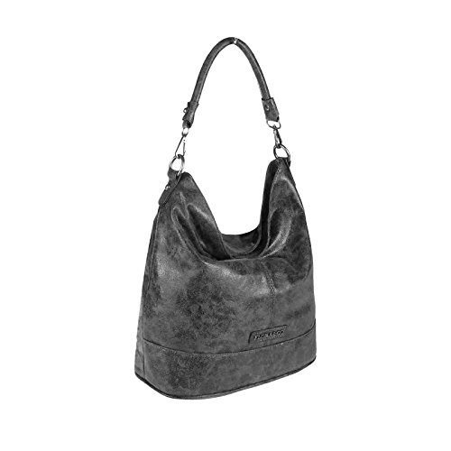OBC Damen Metallic Tasche Shopper Hobo Bag Schultertasche Umhängetasche Handtasche Henkeltasche Beuteltasche (Taupe 41x37x12) Dunkelgrau 30x32x16