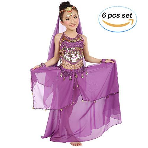 Magogo Mädchen Bauchtanz Kostüm Karneval Party Kostüm, Kinder Glänzende Dancewear Cosplay Arabische Prinzessin Outfit (L, - Arabische Party Kostüm