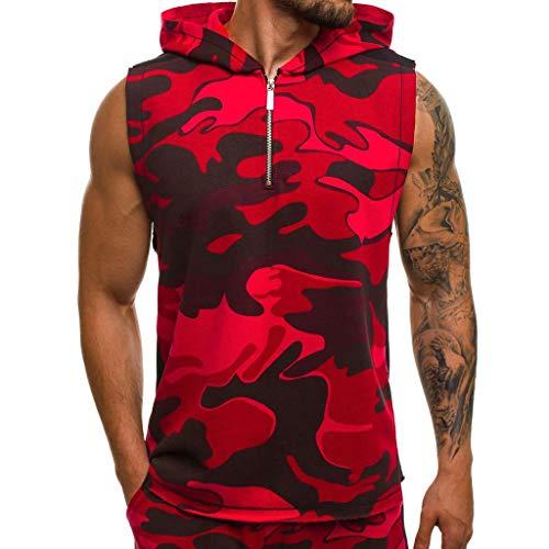 Knowin-Tanktop Camouflage-Weste für Herren Leichter Patchwork-Ärmelloser Kontrast-Hoodie Unterhemd, Muskel Shirt Tankshirt T-Shirt mit Print Unterhemden Ärmellos Weste Muskelshirt Fitness
