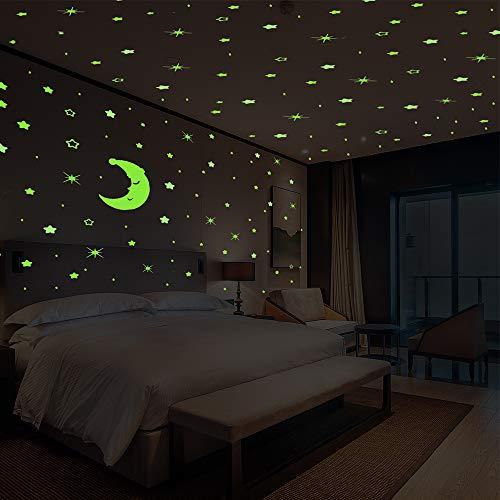 GLEADING Glow in The Dark Stickers Muraux d'Etoiles et Lune, 533 Stickers Muraux Lumineux d'Etoiles et Lune, Parfait pour Chambre de Bébé et d'Enfant Chambre Salon Cadeau d'Anniversaire