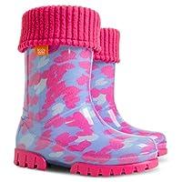 Demar Lux Bright Boys Girls Kids Warm Fleece Lined Wellington Boots Wellies (Pink Hearts, 12-13 UK/30-31 EU - 188mm)