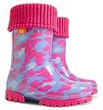 Demar Lux - Botas de Agua con Forro Polar para niños y niñas, Color Rosa, Talla 31/32 EU Niño