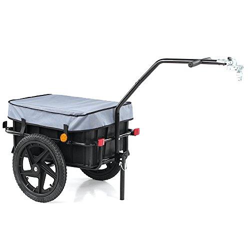 iKayaa- Bike Cargo Anhänger Hand Wagon Fahrrad Gepäckanhänger Anhänger Cart Carrier w/Transport Box & Abdeckung Universal Abnehmbare Box