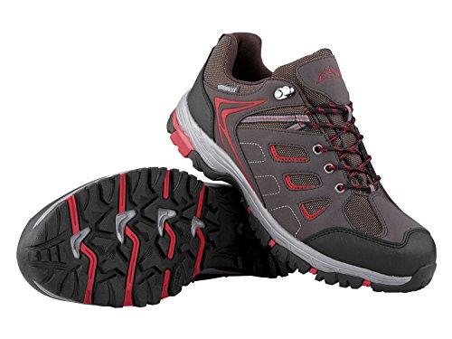 Herren Trekkingschuhe Wanderschuhe Atmungsaktiv, wasserdicht und windabweisend durch eingearbeitete TEX-Membran Braun-Rot