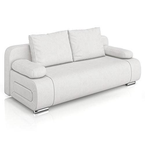 Vicco-Schlafsofa-Sofa-Couch-Ulm-Federkern-200x91cm-PU-Leder-wei-Gstebett