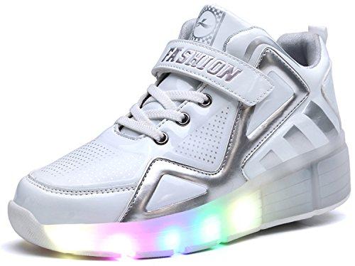 Hoch oben Kinder Junge Mädchen LED Schuhe mit Rollen Herren Skateboard Rollschuhe Damen mit ein Rad 7 Farbe Farbwechsel Sneaker Wanderschuh (Skateboard Kinder Weiß Schuh)