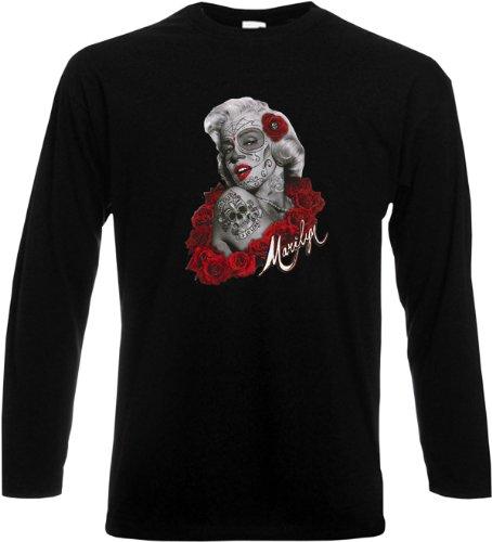 Marilyn Monroe Longsleeve Tattoo Face Rote Rosen Tag der Toten Langarm Shirt Marylin Dia de Los Muertos Gr. XXL : (Toten Marilyn Monroe Kostüm)
