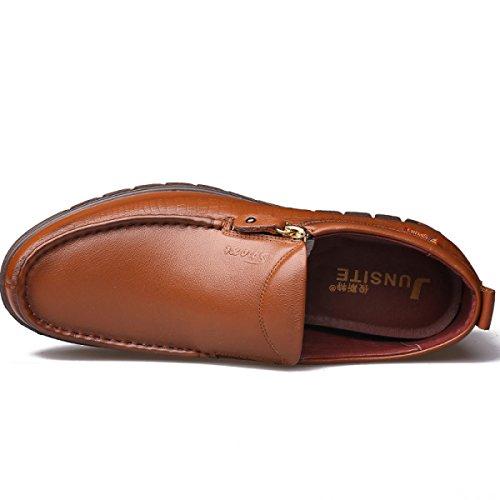 GRRONG Chaussures En Cuir Pour Homme En Cuir Véritable Loisirs Respirant Noir Brun Jaune yellow