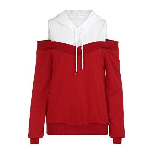 Banaa felpe off spalla donna cime manica lunga impunture camicia casual pullover sciolto maglione con cappuccio elegante (rosso, xl)