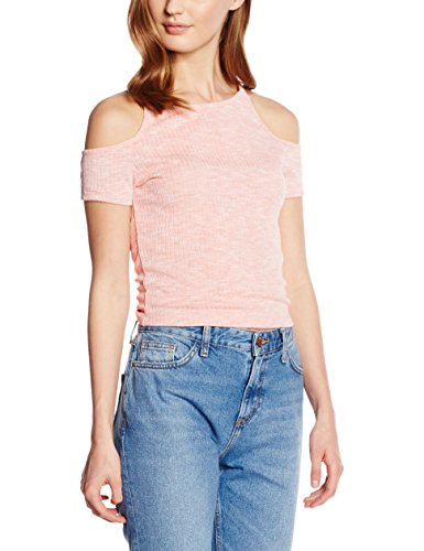 New Look Fitted Cold Shoulder, Hauts Femme Pink (Mid Pink)