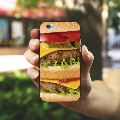 Apple iPhone X Silikon Hülle Case Schutzhülle Hamburger Cheeseburger Fast Food Silikon Case schwarz / weiß