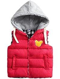 YueLian Niños Niñas Invierno Patrón de Osito Abrigo Grueso Chaquetas sin Mangas Chaleco Infantil Outwear Vest Rojo